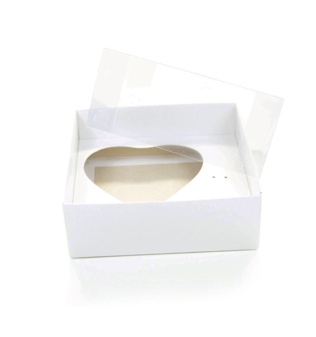 Ref 003 Branca - Caixa Coração 200gr. c/ tampa Transparente ALTA - 14x14x6 cm - c/ 10 unidades
