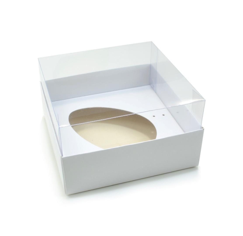 Ref 003 Branca - Caixa Ovo Virado 250gr. c/ tampa Transparente ALTA - 14x14x6 cm - c/ 10 unidades