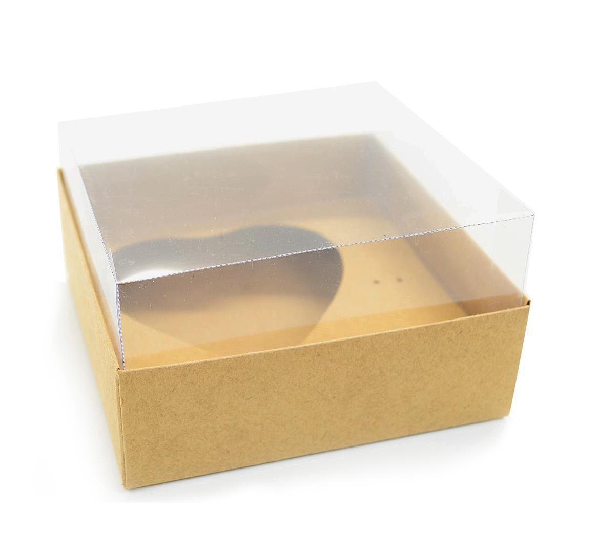 Ref 003 Kraft - Caixa Coração 200gr. c/ tampa Transparente ALTA - 14x14x6 cm - c/ 10 unidades