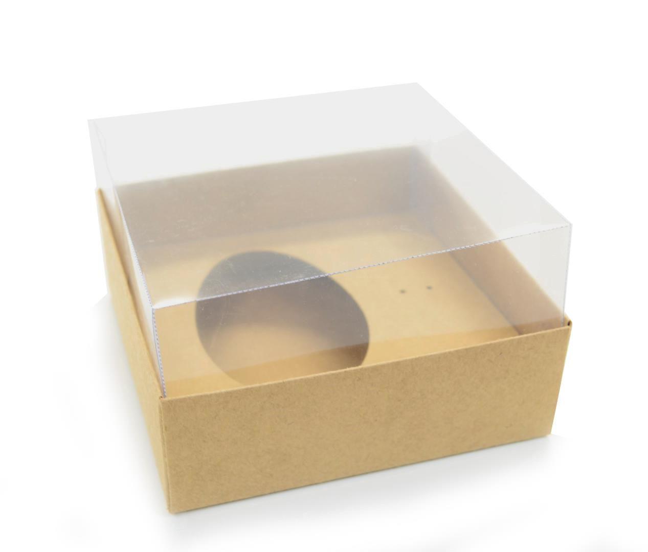 Ref 003 Kraft - Caixa Ovo 100 e 150gr. c/ tampa Transparente ALTA - 14x14x6 cm - c/ 10 unidades