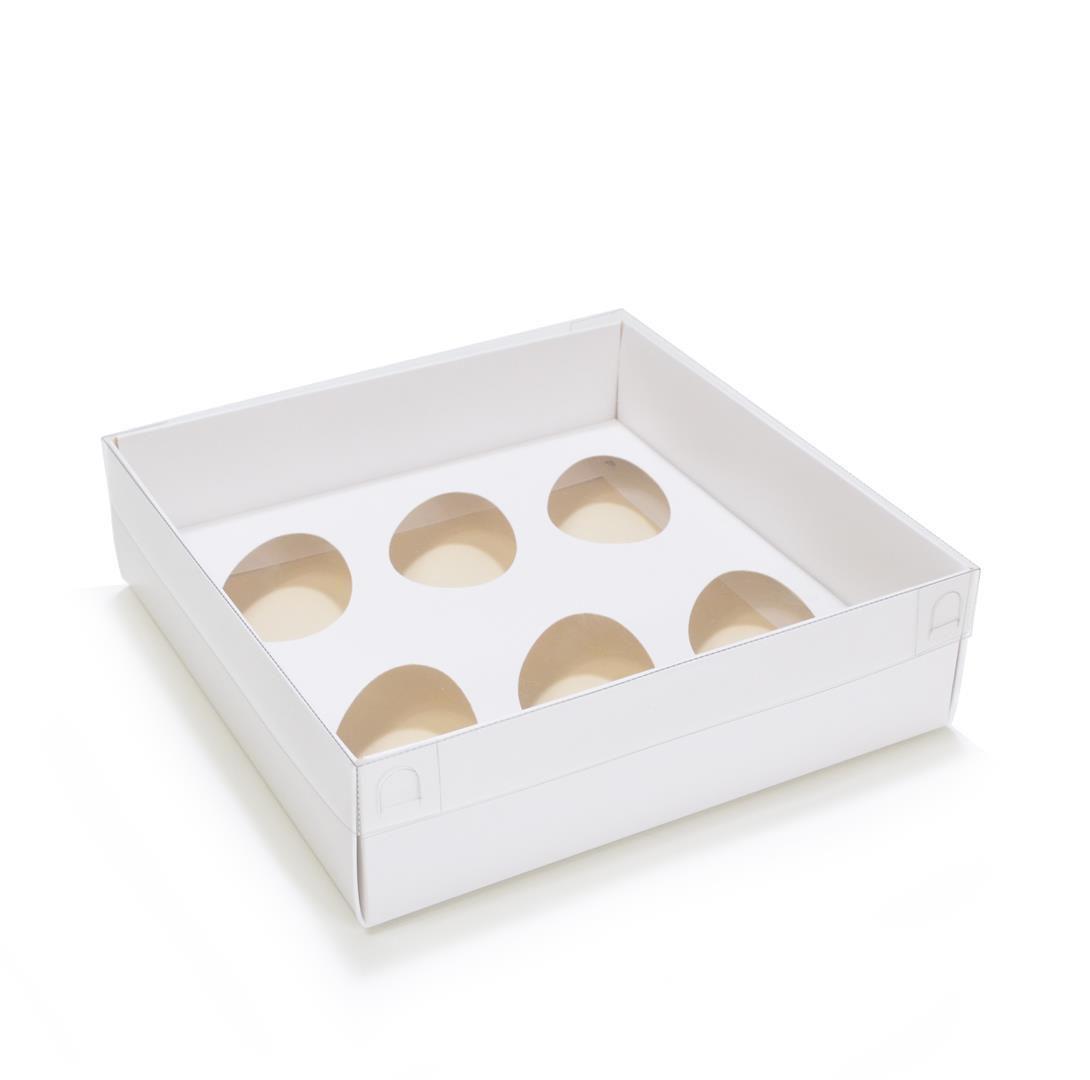 Ref 004  Branca - Caixa 6 un. Ovo 50gr. c/ tampa BAIXA - 17,5x17,5x8 cm - c/ 10 unidades