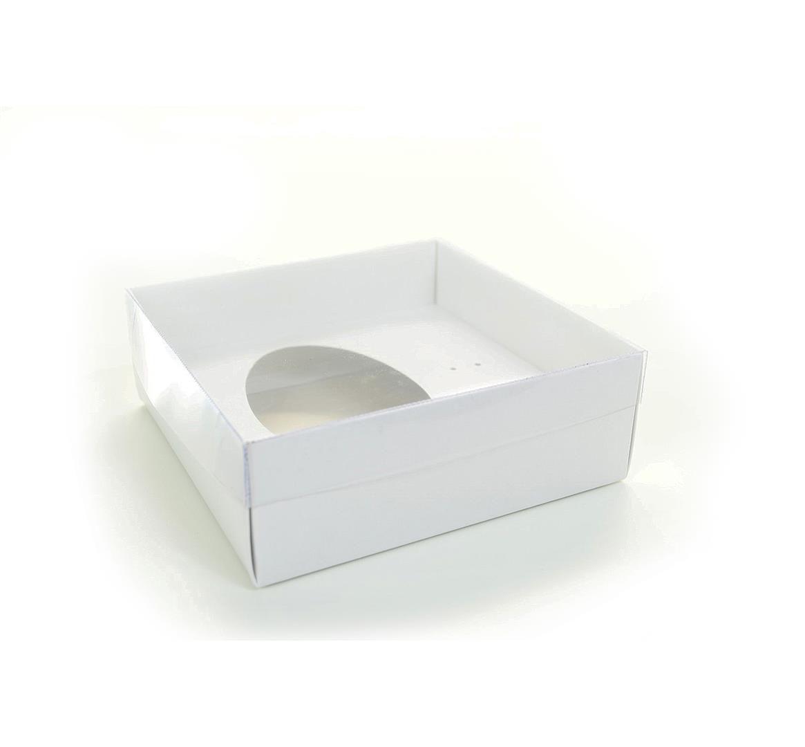 Ref 004 Branca - Caixa Ovo 250/350 gr. c/ Tampa ALTA - 17,5x17,5x8 cm - c/ 10 unidades