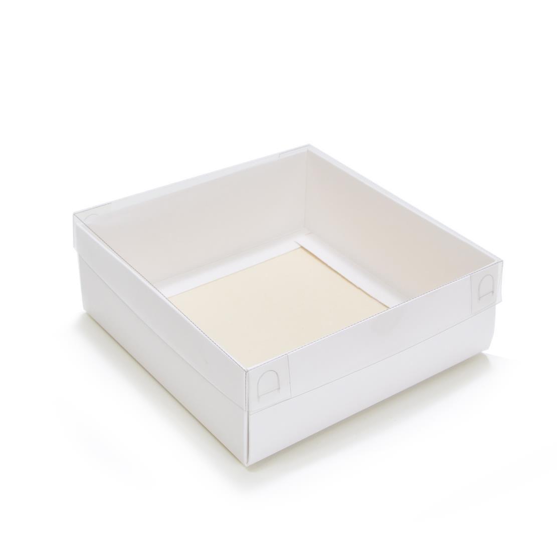 Ref 004 Branca - Caixa c/ tampa Transparente BAIXA - 17,5x17,5x5 cm - c/ 10 unidades