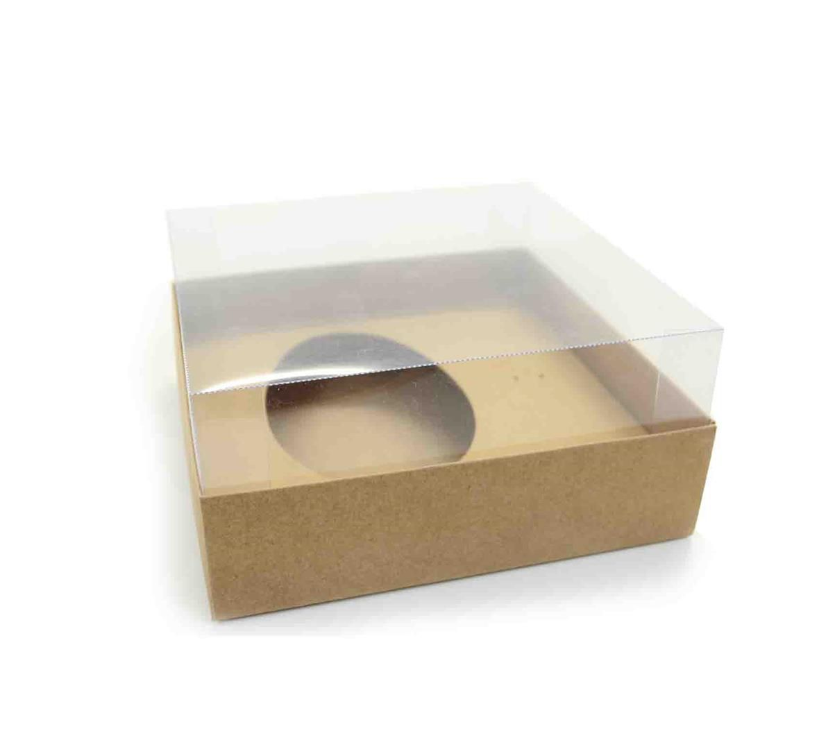 Ref 004 Kraft - Caixa Ovo 250/350 gr. c/ tampa ALTA - 17,5x17,5x8 cm - c/ 10 unidades