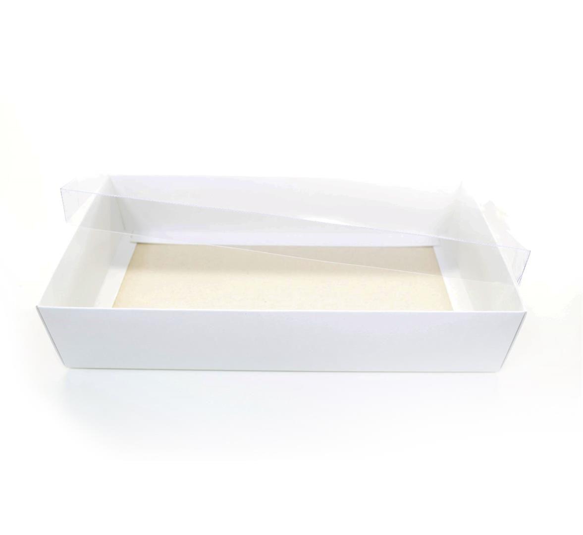 Ref 005 Branca - Caixa c/ tampa Transparente BAIXA - 25x13x5 cm - c/ 10 unidades