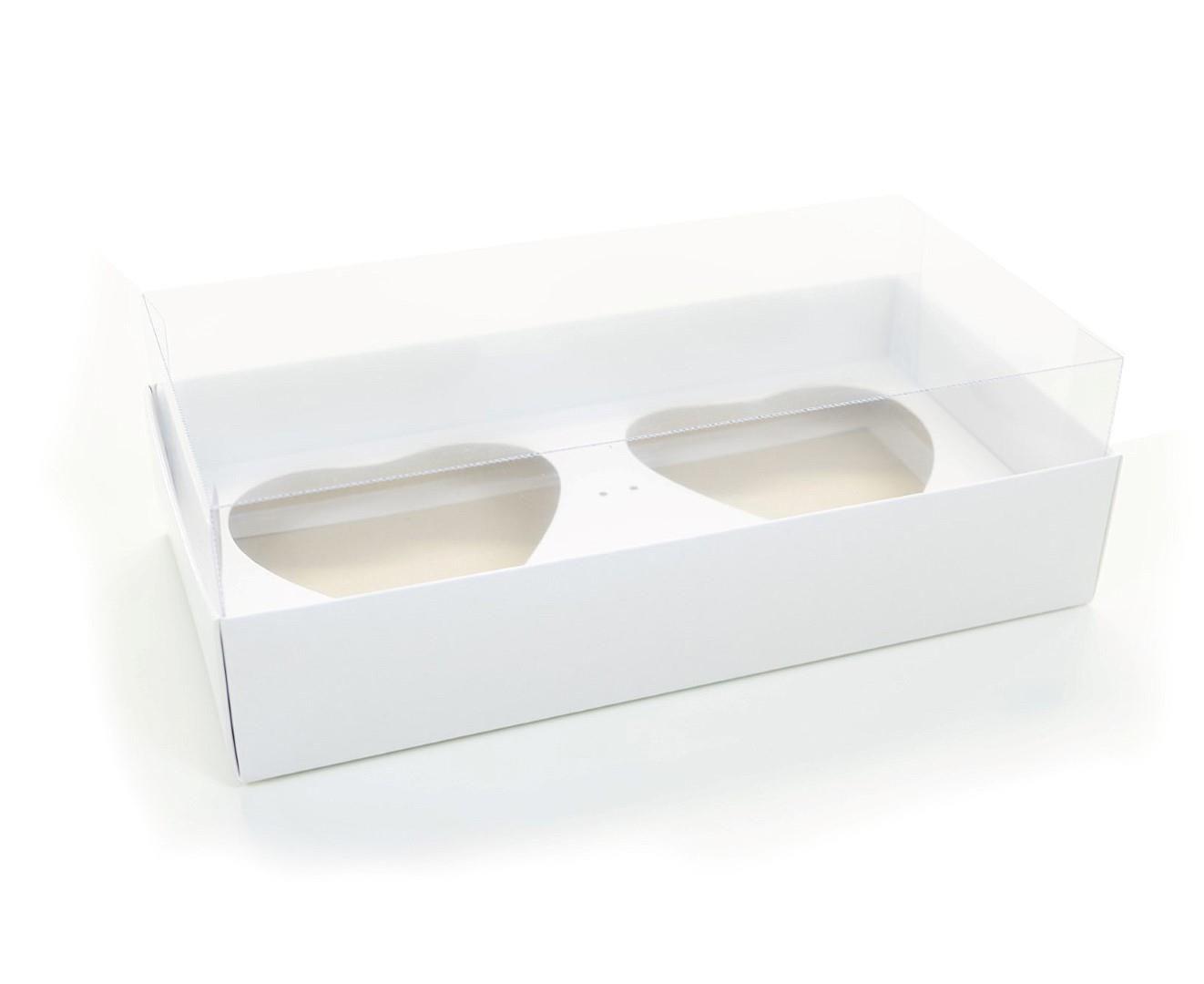 Ref 005 Branca - Caixa Coração Duplo 200 gr. c/ tampa Transparente ALTA - 25x13x7,5 cm - c/ 10 unidades