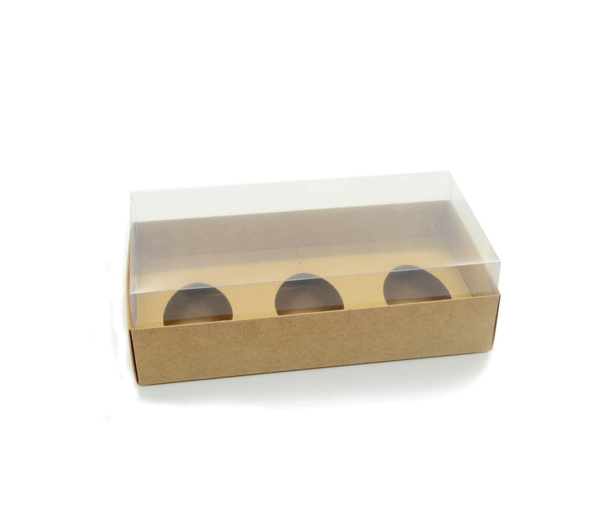 Ref 005 Kraft - Caixa Ovo Triplo 100/150 gr. c/ tampa Transparente ALTA - 25x13x7,5 cm - c/ 10 unidades