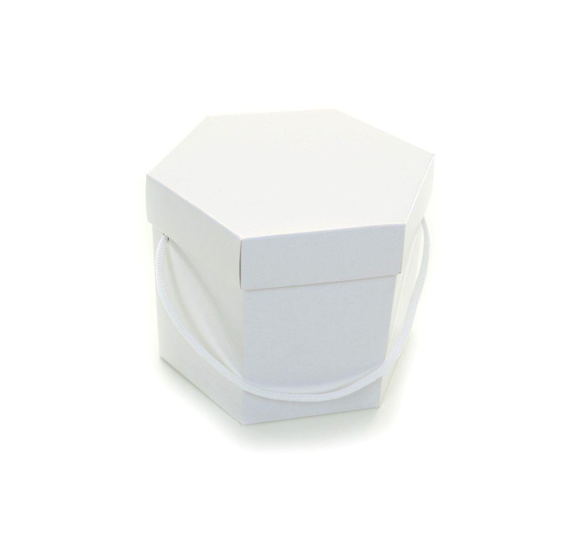 Ref 009 Branca - Caixa Sextavada c/ alça - 8,5x14 cm - c/ 10 unidades