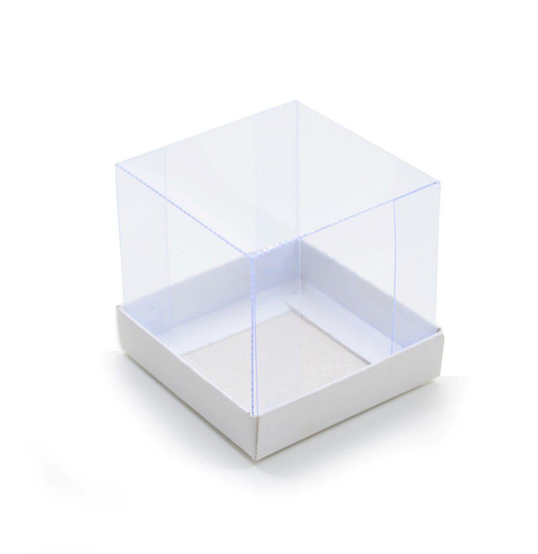 Ref 011 Branca - Caixa c/ tampa transparente - 5,5x5,5x5 cm - c/ 10 unidades