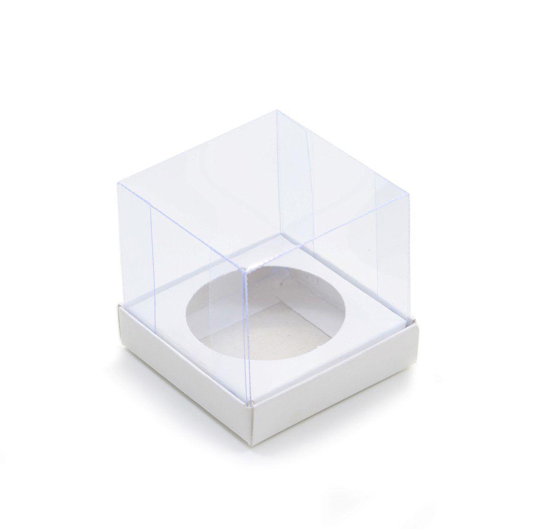 Ref 011 Branca - Caixa Cupcake c/ tampa transparente - 5,5x5,5x5 cm - c/ 10 unidades