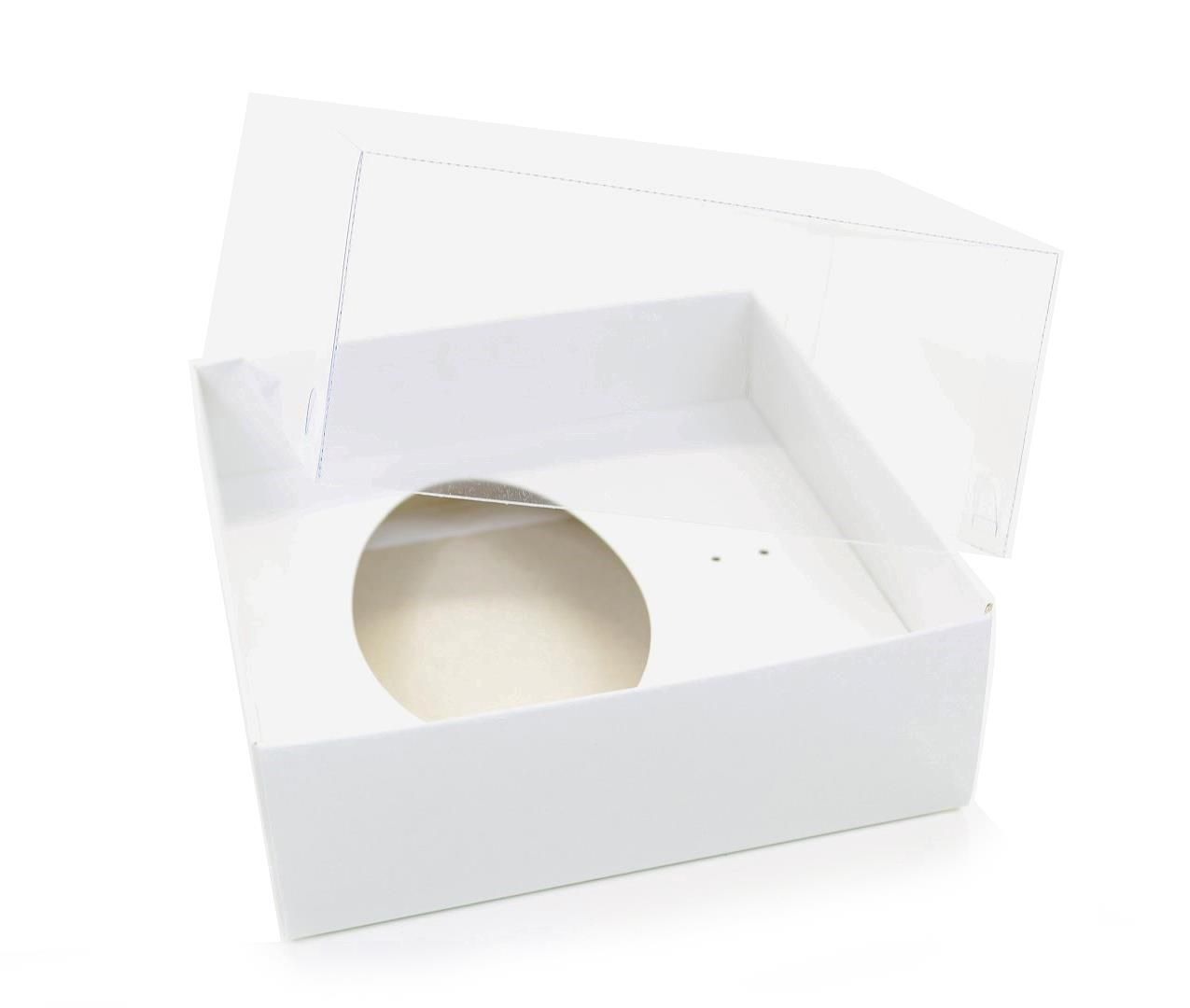 Ref 003 Branca - Caixa Ovo 100 e 150gr. c/ tampa Transparente ALTA - 14x14x6 cm - c/ 10 unidades