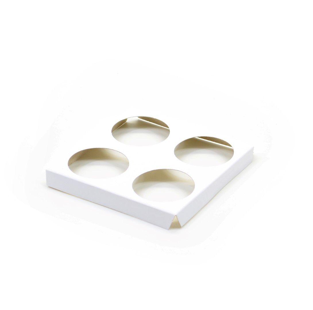 D068 Acessório p/ 4 mini cupcakes - 10,4x10,4x1,3 cm - Branca
