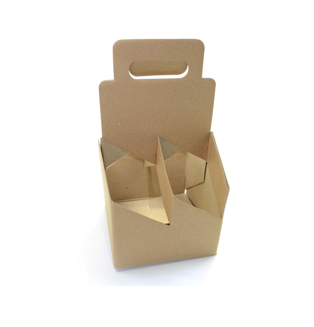 Ref. 303 Kit Engradado Kraft 4 Garrafas 600ml - 15,5x15,5x30cm - c/ 10 unidades