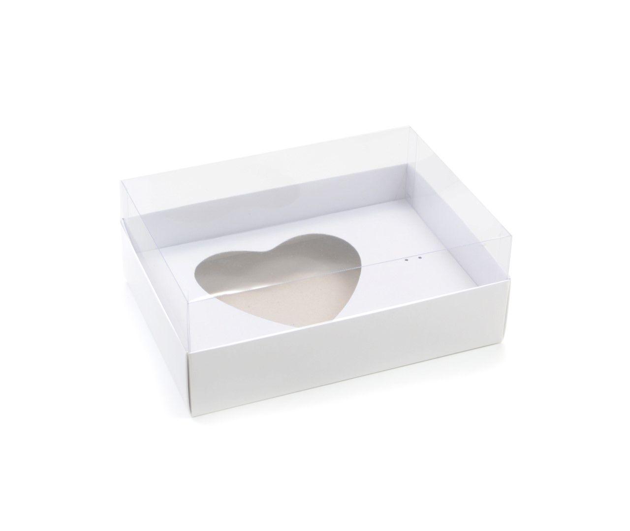 Ref 016 Branca - Caixa Coração 500gr. c/ tampa ALTA - 25x18x11 cm - c/ 10 unidades