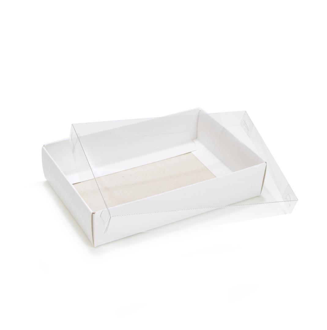 Ref 022 Branca - Caixa c/ tampa transparente - 14x9x3 cm - c/ 10 unidades