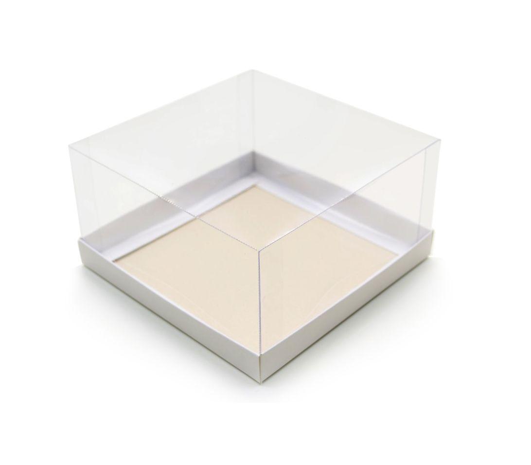 Ref 035 Branca - Caixa c/ tampa transparente - 15,5x15,5x8 cm - c/ 10 unidades