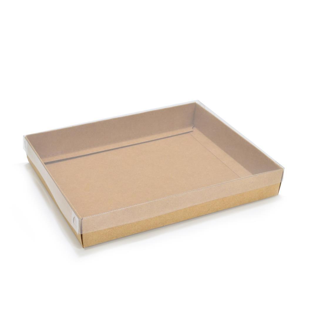 Ref 036 Kraft - Caixa c/ tampa transparente - 20x16x3 cm - c/ 10 unidades