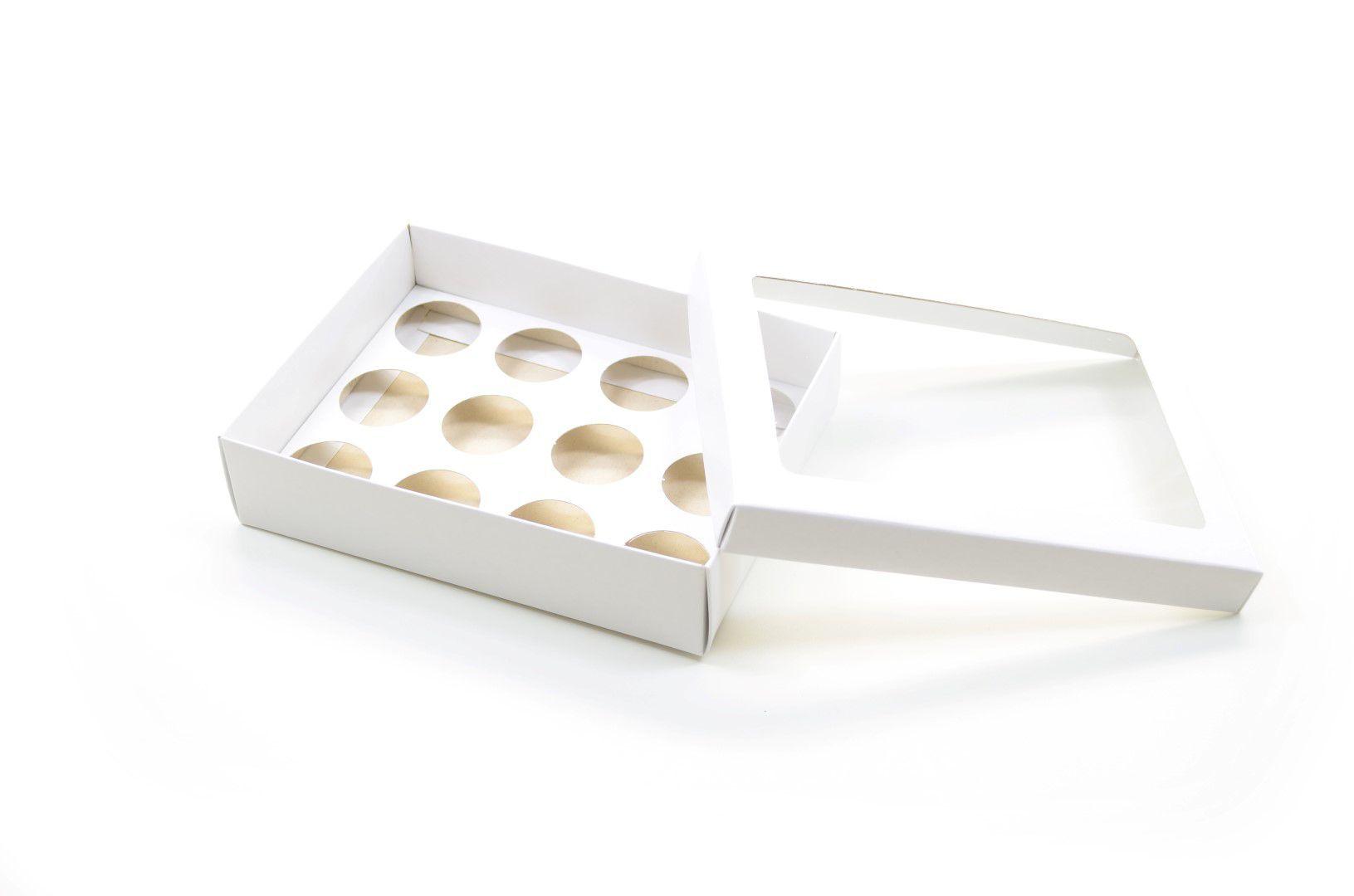 Ref 043 Branca - Caixa p/ 12 Brigadeiro Gourmet Nº4 - tampa c/ visor - 17x13x4 cm - c/ 10 unidades