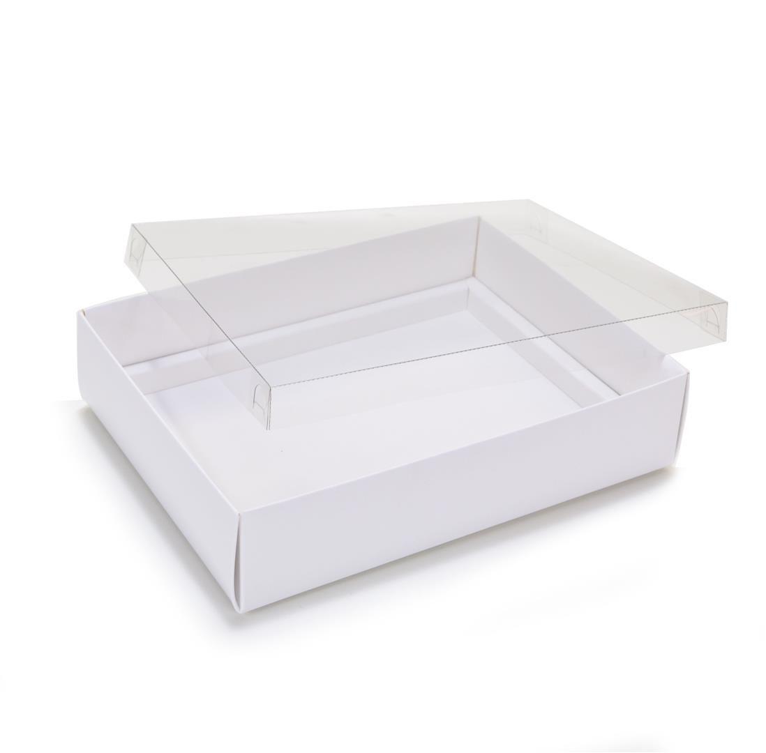 Ref 043 Branca - Caixa p/ 12 Brigadeiro Gourmet Pelotines - c/ tampa transparente BAIXA - 17x13x4 cm - c/ 10 unidades
