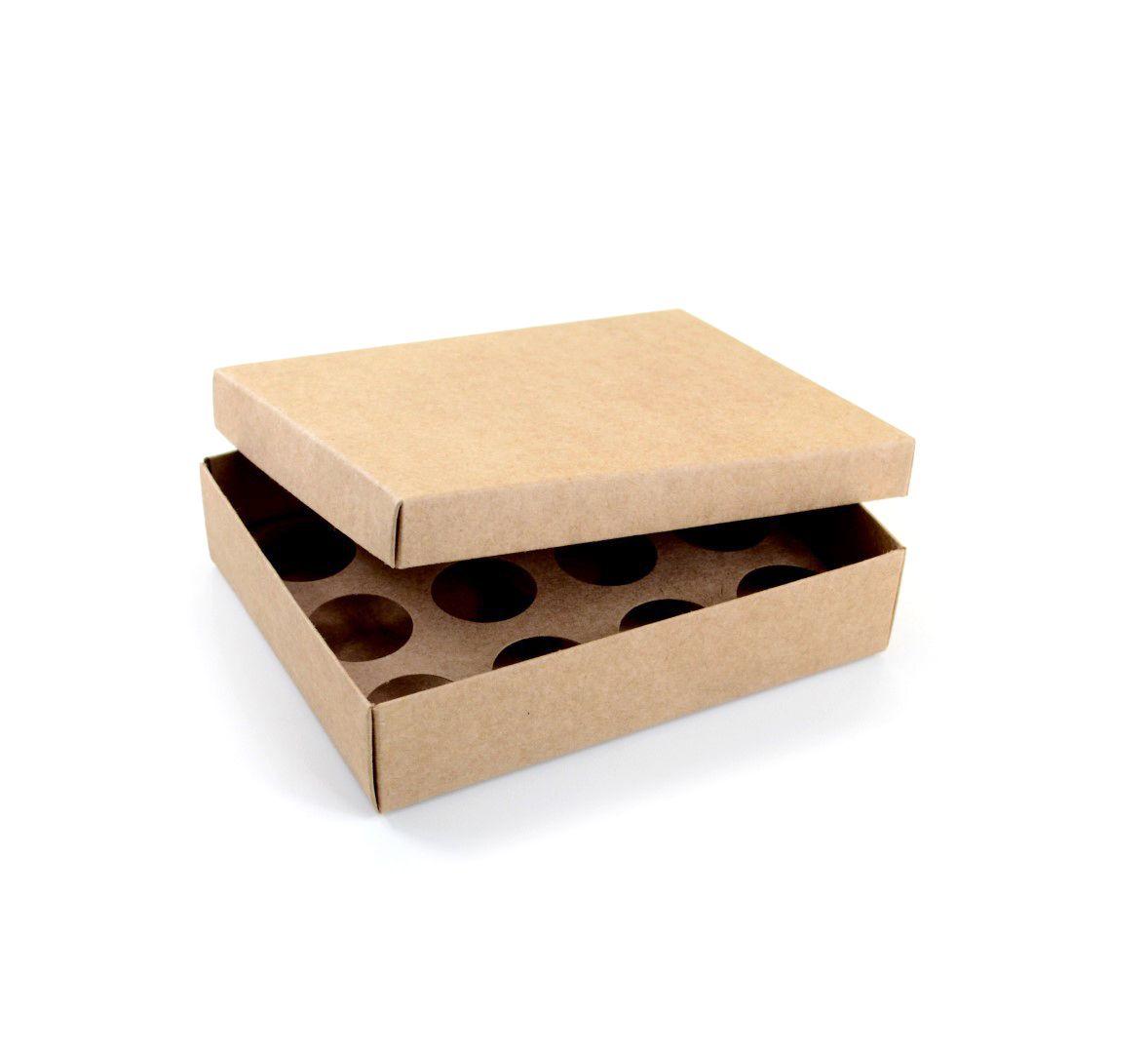 Ref 043 Kraft - Caixa p/ 12 Brigadeiro Gourmet Nº4 - c/ tampa papel - 17x13x4 cm - c/ 10 unidades