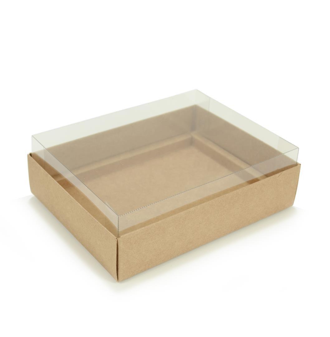Ref 043 Kraft - Caixa p/ 12 Brigadeiro Gourmet Pelotines - c/ tampa transparente ALTA - 17x13x5,2 cm - c/ 10 unidades