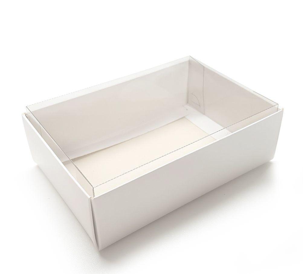 Ref 049 Branca - Caixa c/ tampa Transparente ALTA - 25x17x4,2 cm - c/ 10 unidades
