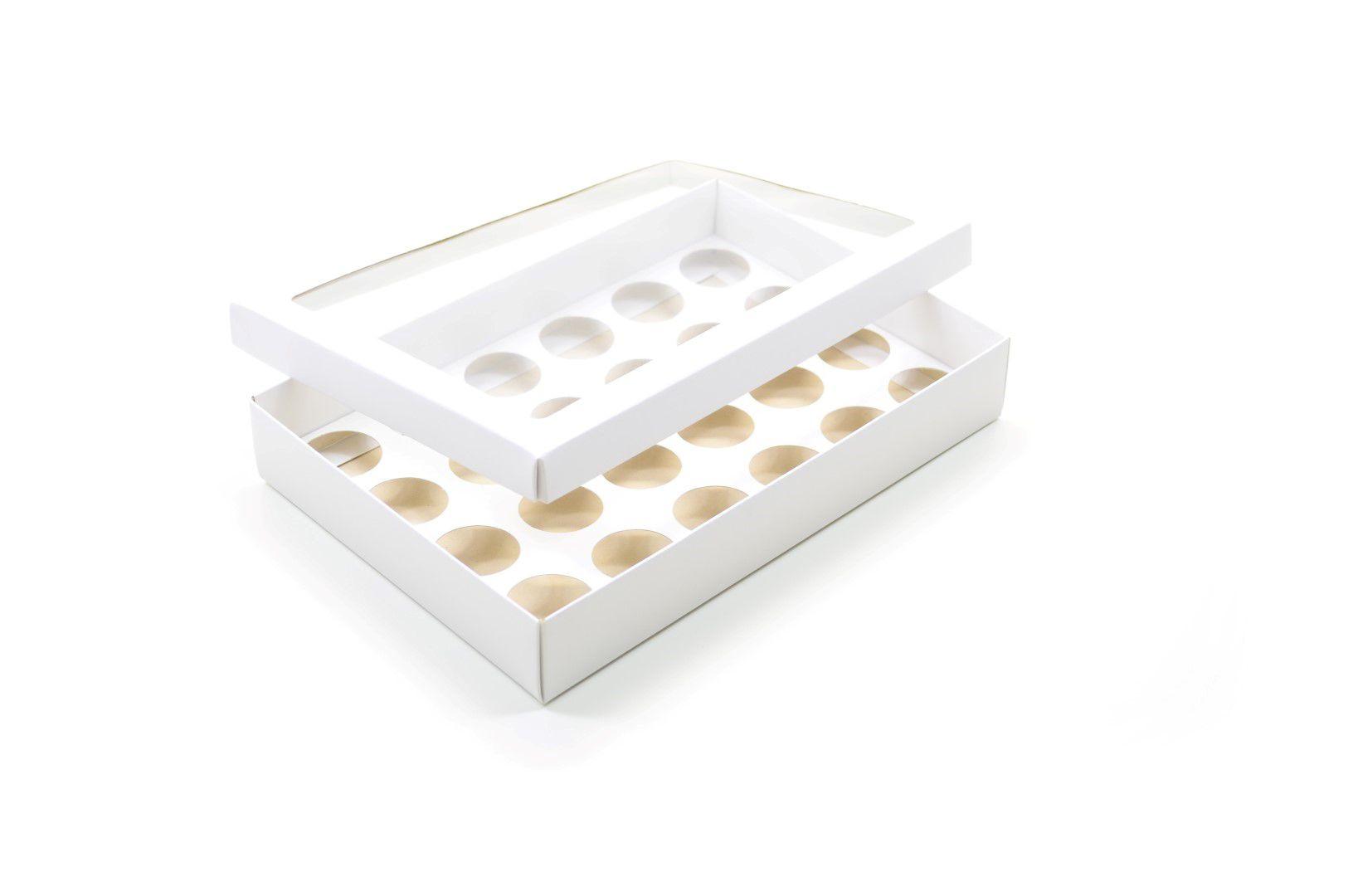 Ref 049 Branca - Caixa p/ 24 Brigadeiro Gourmet Nº4 - c/ visor na tampa - 25x17x4 cm - c/ 10 unidades