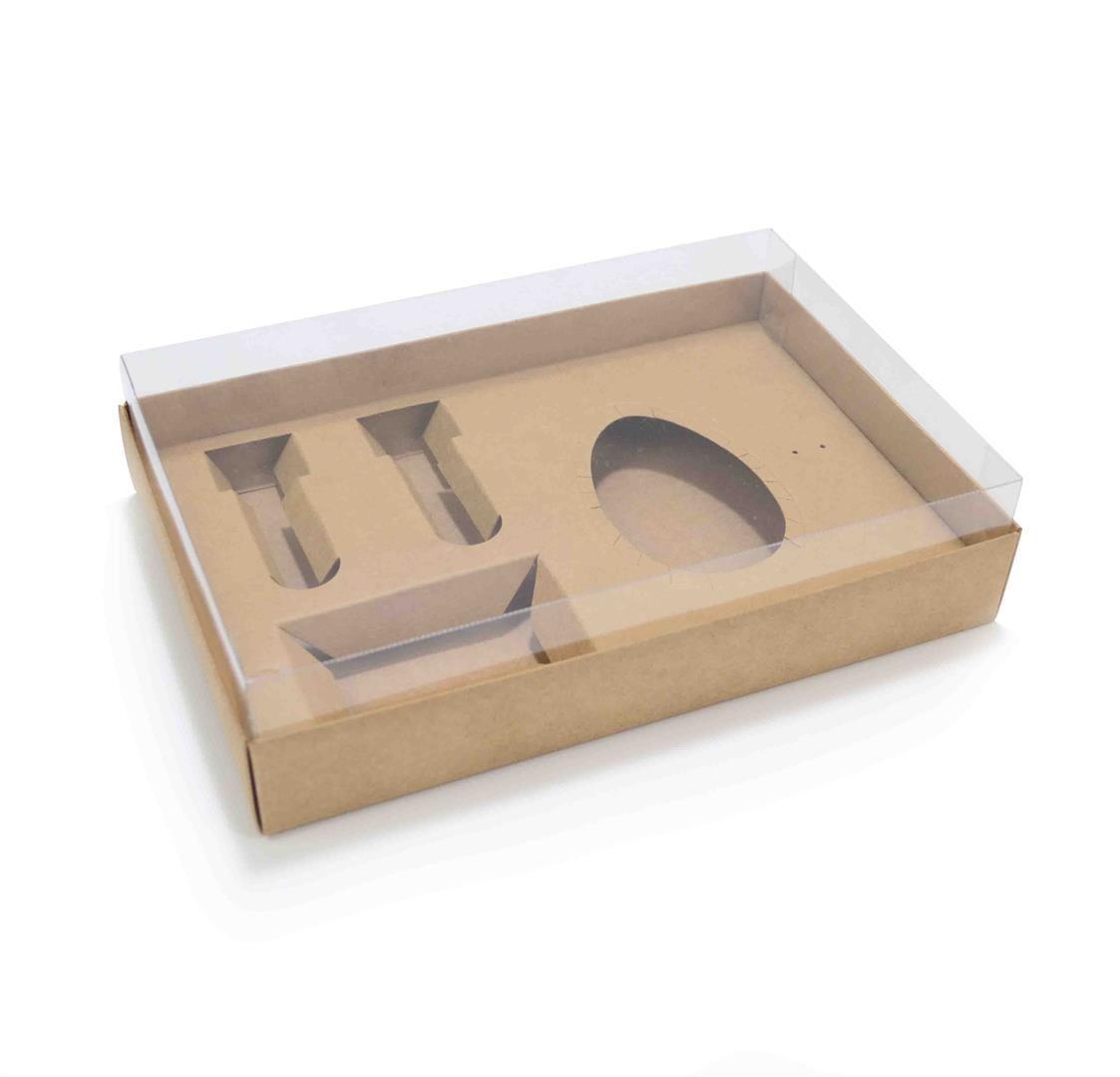 Ref 078 Kraft - Caixa Kit Mini Confeiteiro Ovo 150 ou 250 gramas - 25x17x5,2 cm - c/ 10 unidades