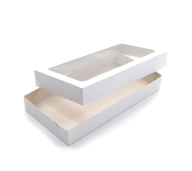 Ref 086 Branca - Caixa c/ tampa transparente - 23x12x3 cm - c/ 10 unidades
