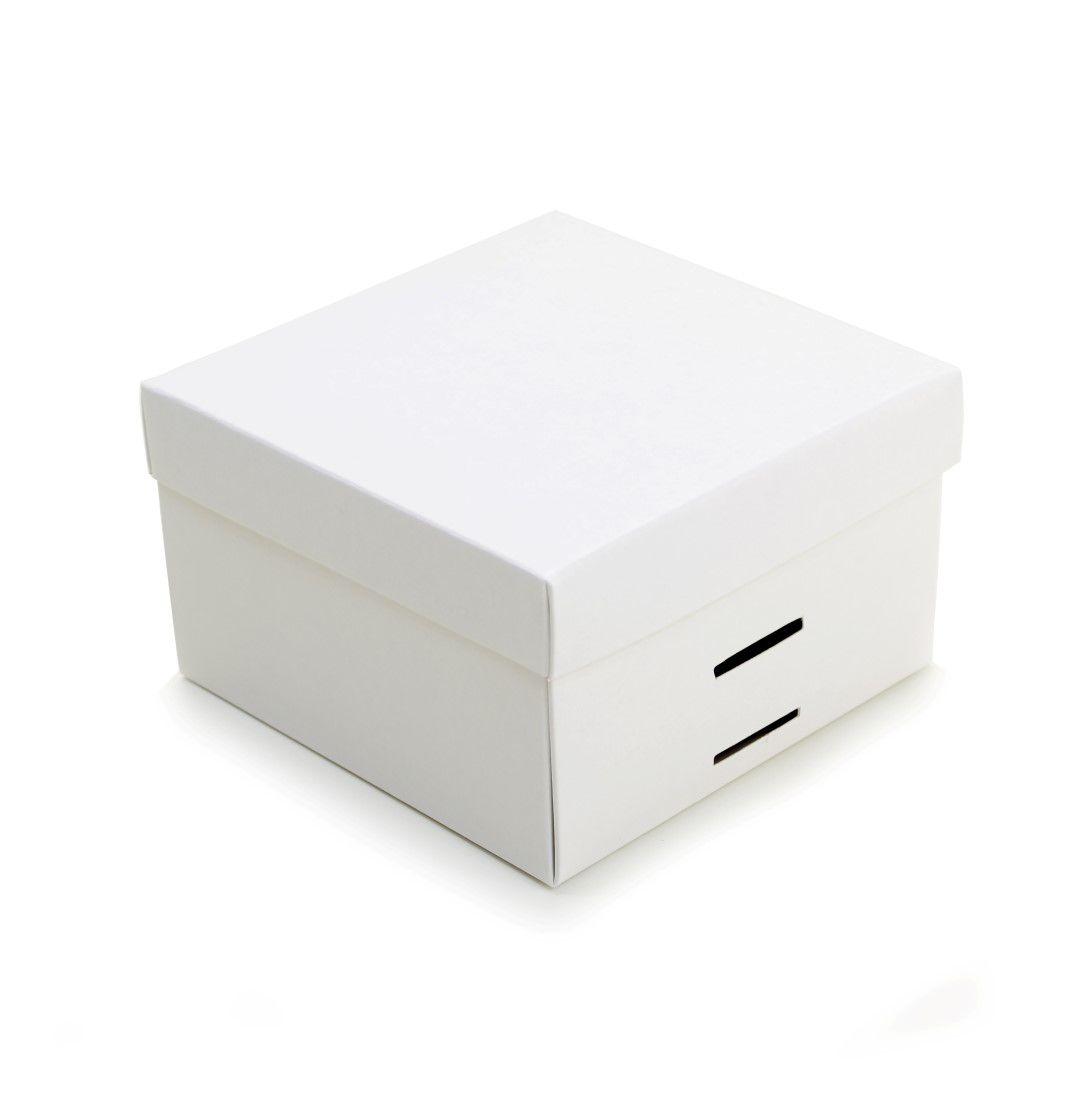 Ref 097 Branca - Caixa c/ tampa papel e passa-fita - 13x13x8 cm - c/ 10 unidades