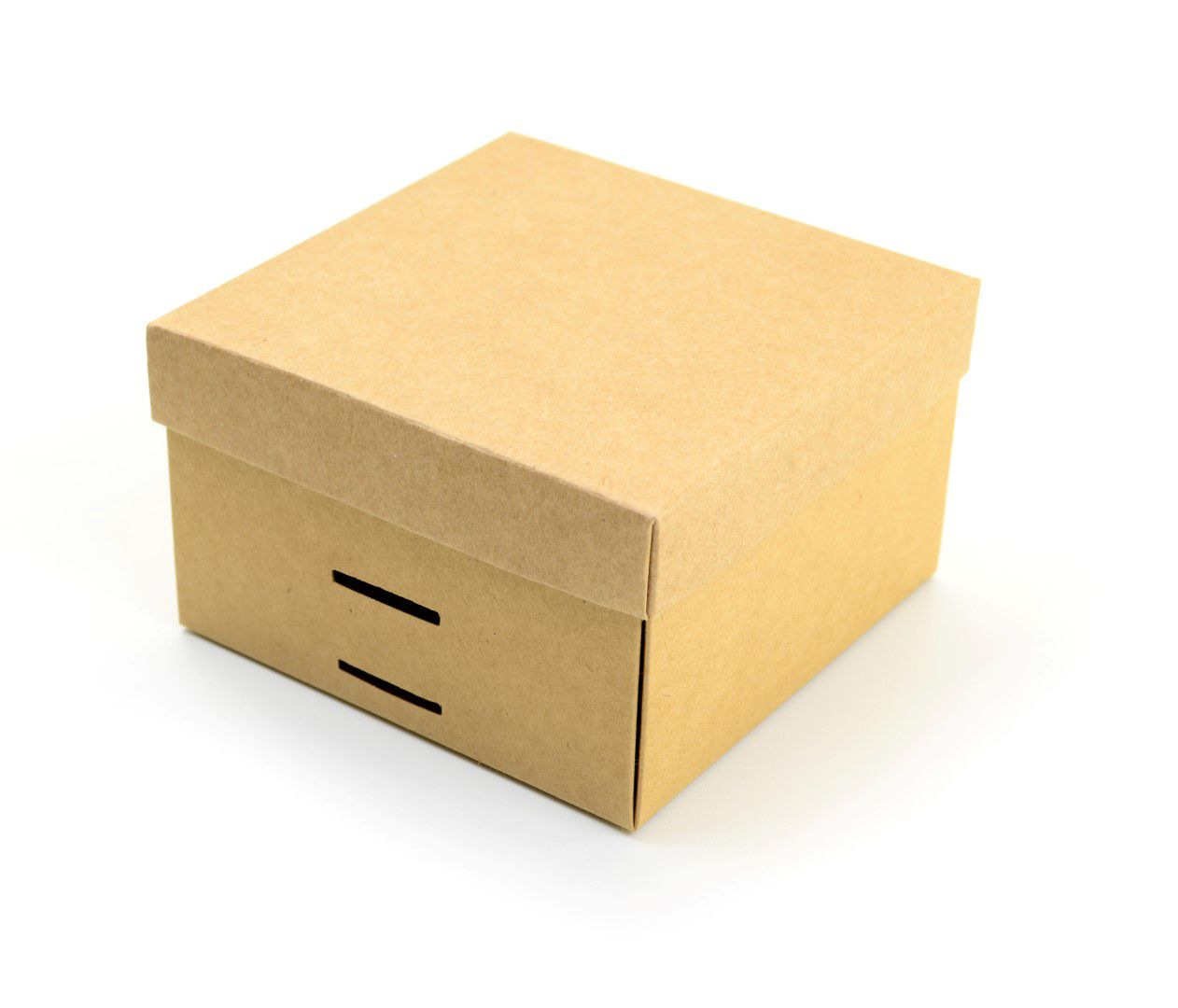 Ref 097 Kraft - Caixa c/ tampa papel e passa-fita - 13x13x8 cm - c/ 10 unidades