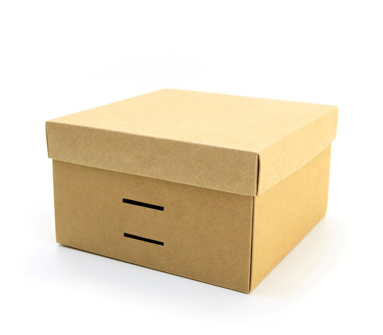 Ref 098 Kraft - Caixa c/ tampa papel e passa-fita - 17x17x10 cm - c/ 10 unidades