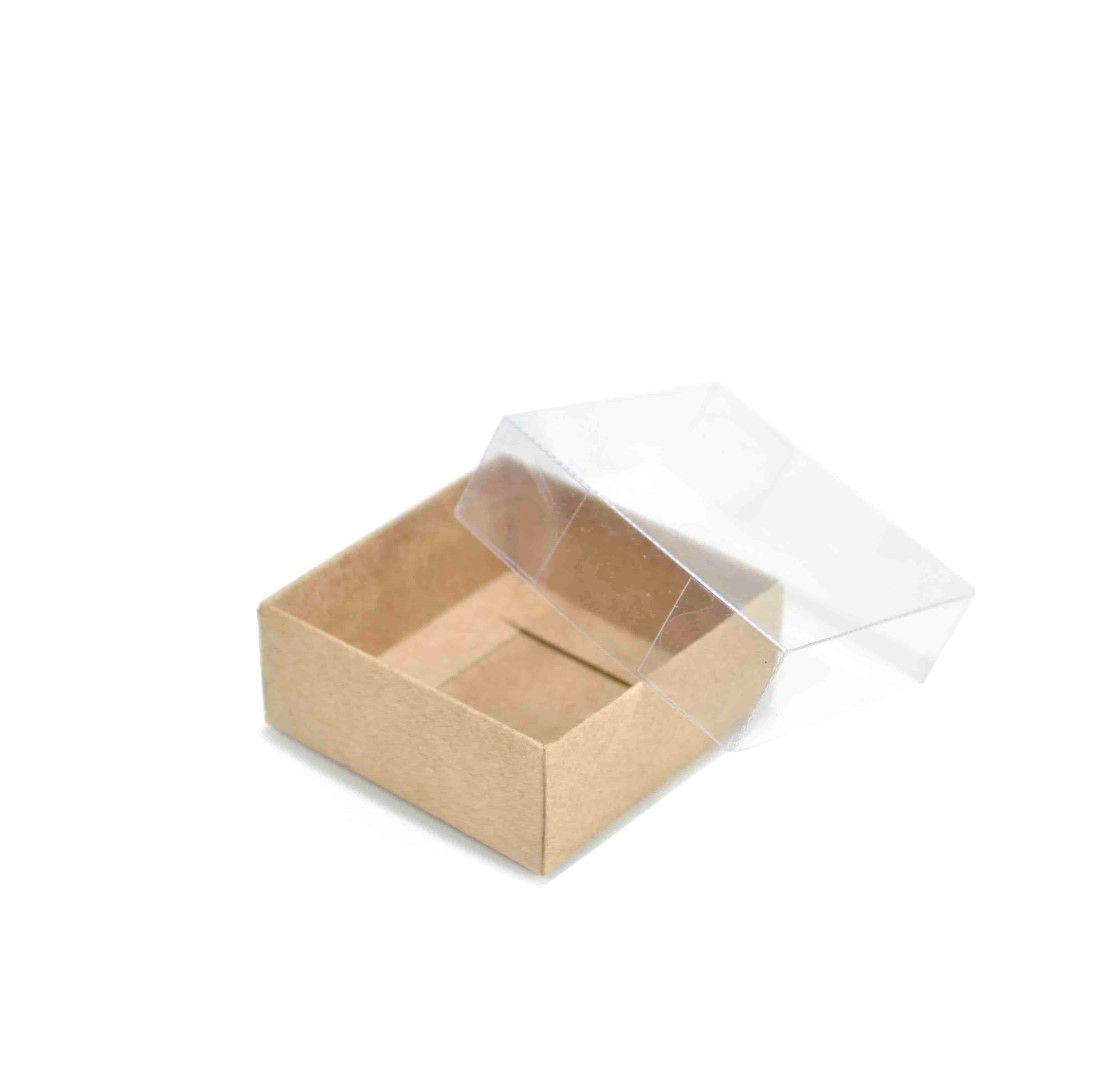 Ref 099 Kraft - Caixa c/ Tampa transparente - 6x6x2,5 cm - c/ 10 unidades