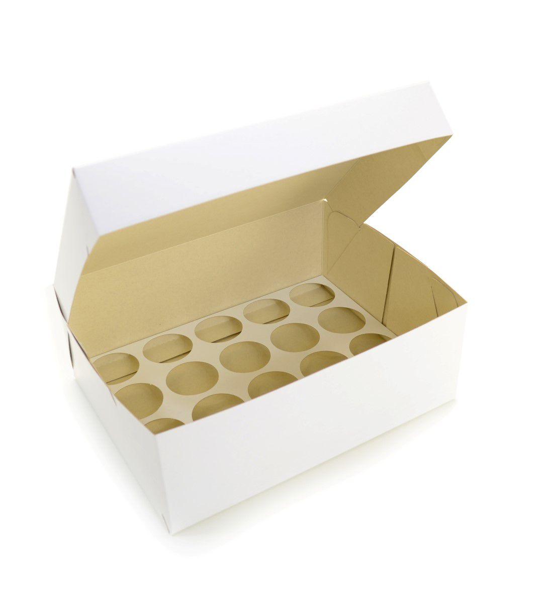 Ref 102 Branca - Caixa 20 Mini Cupcakes - 24x18,5x9 cm - c/ 10 unidades