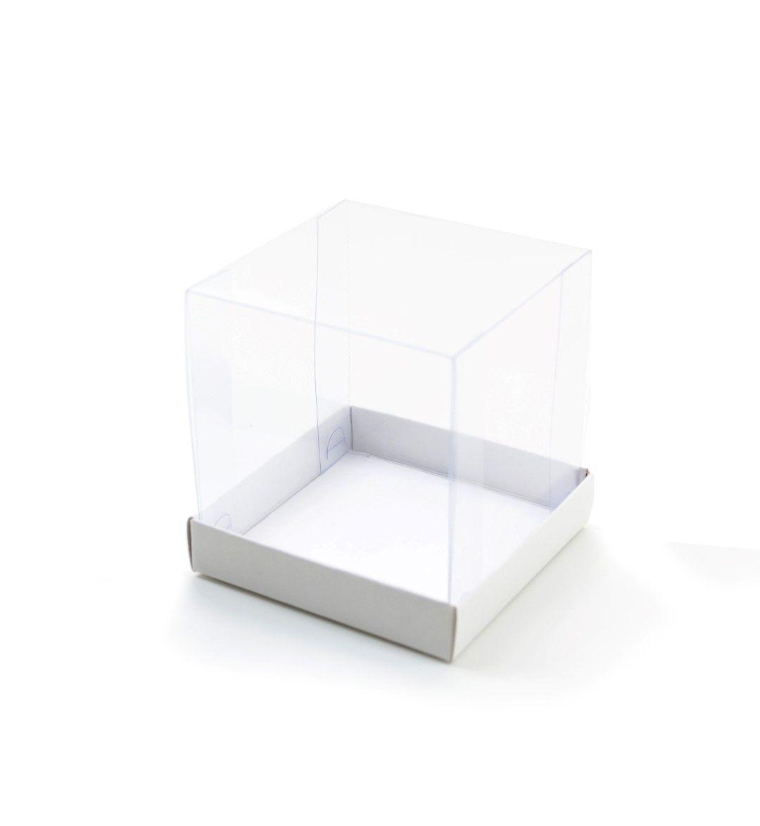 Ref 107 Branca - Caixa c/ tampa transparente - 7,5x7,5x8 cm - c/ 10 unidades