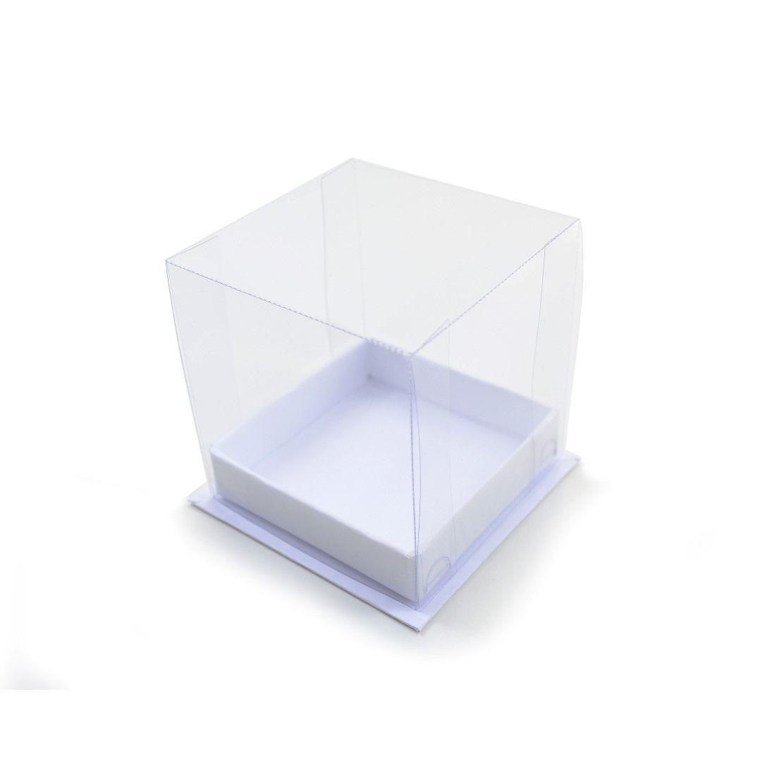 Ref 107 PLUS Branca - Caixa c/ tampa transparente - 7,5x7,5x8 cm - c/ 10 unidades