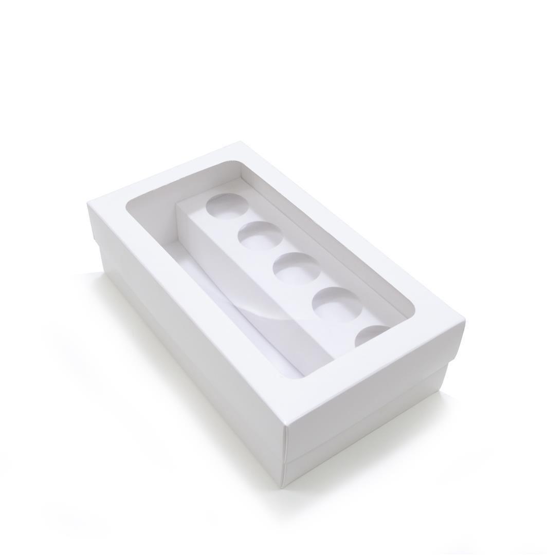 Ref 123 Branca - Caixa p/ Garrafa e Brigadeiros c/ visor - 21,5x12,5x6,5 cm - c/ 10 unidades