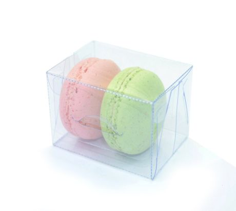 Ref 124 Transparente - Baú 2 Macarons - 5,5x4x4 cm - c/ 10 unidades