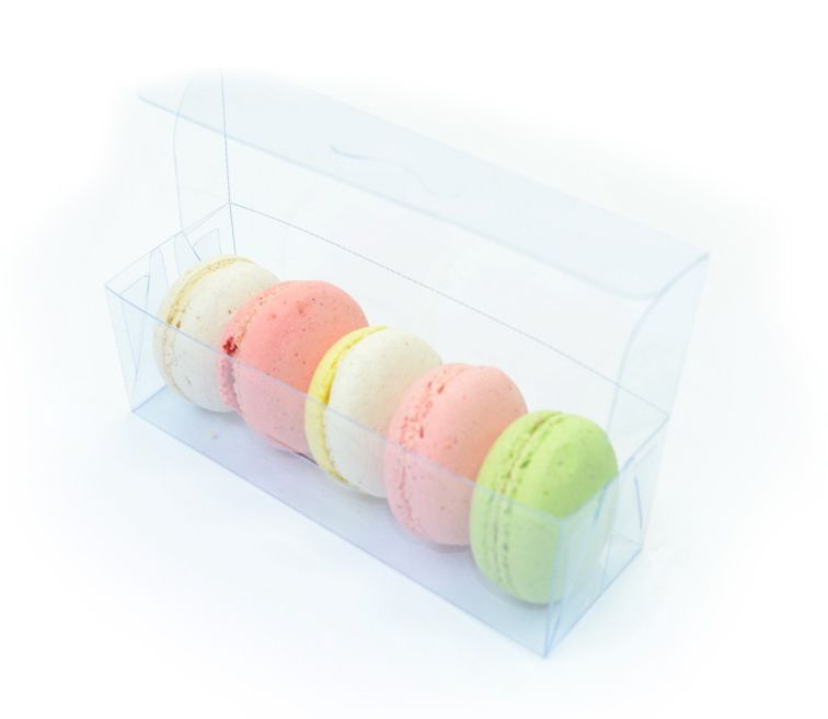 Ref 125 - Caixa 5 Macarons transparente - 5,5x4x4 cm - c/ 10 unidades