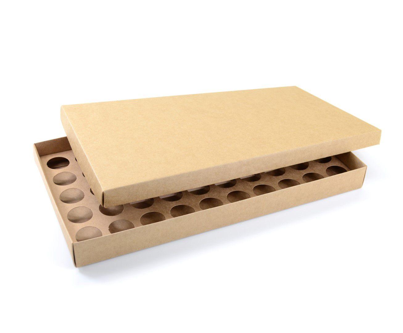 Ref 132 Kraft - Caixa p/ 50 Brigadeiro Gourmet Nº4 - c/ tampa papel - 43x23x4 cm - c/ 10 unidades
