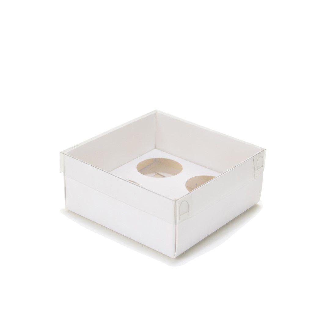 Ref 133 Branca - Caixa p/ 4 Brigadeiro Gourmet Nº4 c/ tampa BAIXA - 9x9x4 cm - c/ 10 unidades