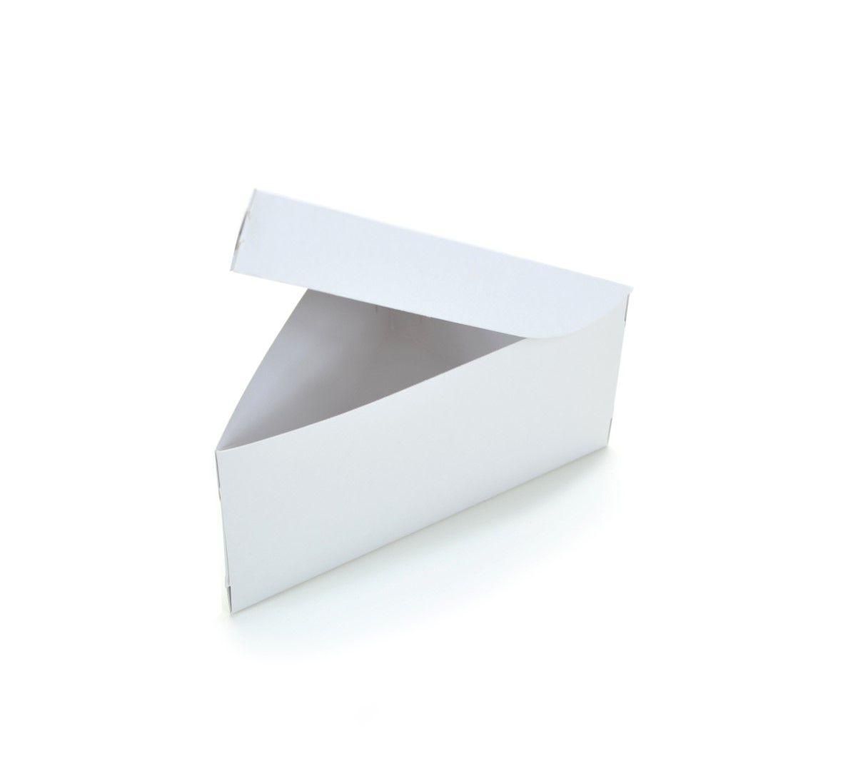 Ref 137 Branca - Embalagem Fatia de Bolo / Torta - 16,5x11x8 cm - c/ 10 unidades