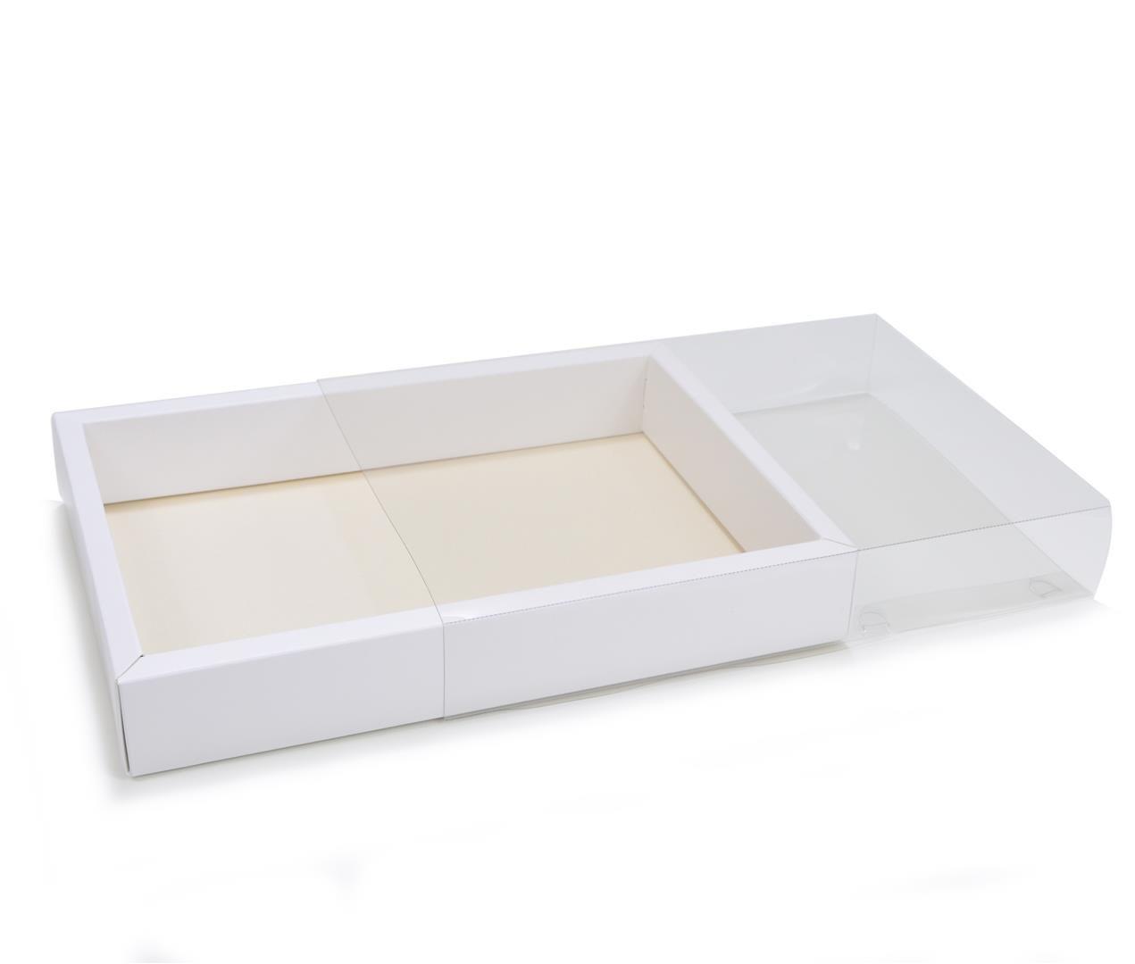 Ref 142 Branca - Caixa Gaveta c/ tampa Transparente - 25x17x4 cm - c/ 10 unidades