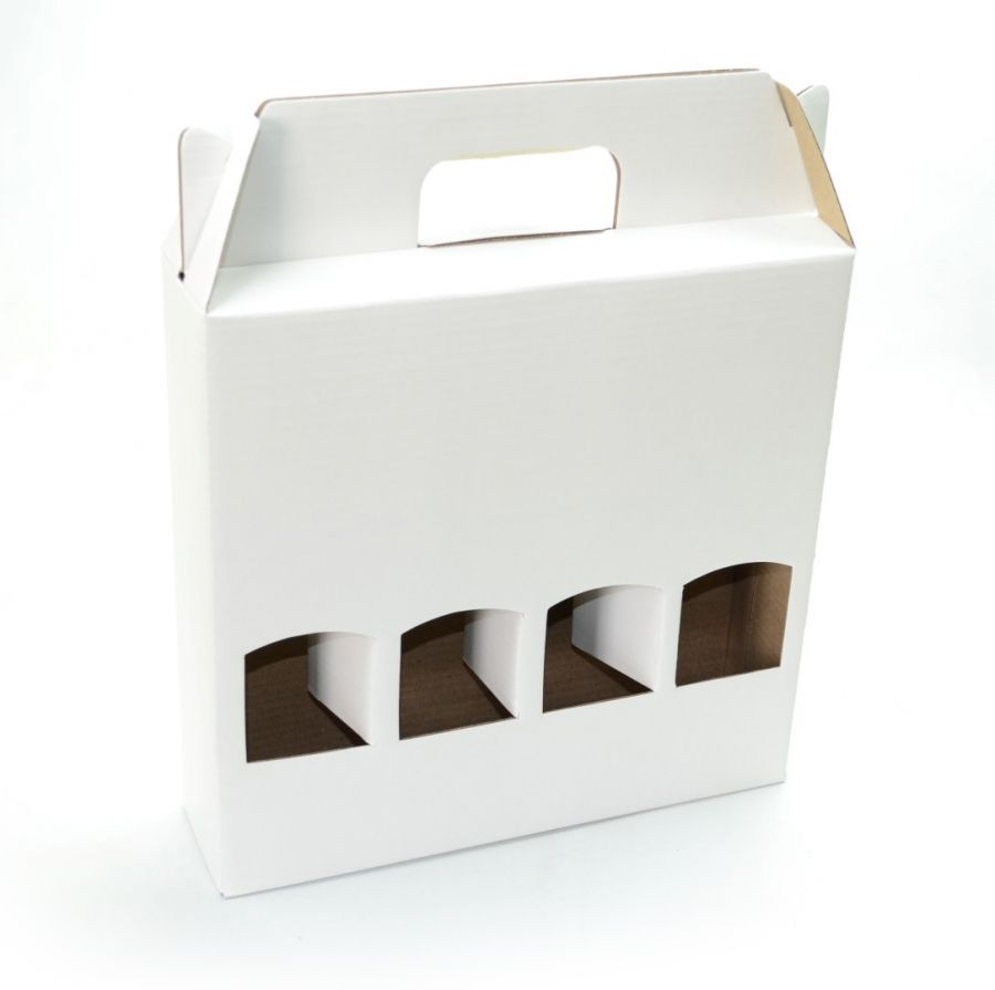 Ref. 304 Branca Maleta 4 Garrafas 300ml - 25,5x6,5x24,5 cm - c/ 10 unidades