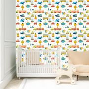 Papel de Parede Brinquedos Kids Balão Trenzinho Foguetes Adesivo P070