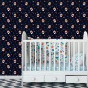 Papel de Parede Corujas Bebê Mamadeiras Chupetas Adesivo P243