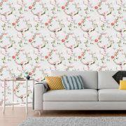 Papel de Parede Floral Flores Rosas Galhos Glamour Adesivo P315