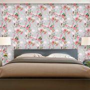 Papel de Parede Floral Galhos Flores Borboleta P160