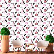 Papel de Parede Make Up Rosas Batom Maquiagens Adesivo P423