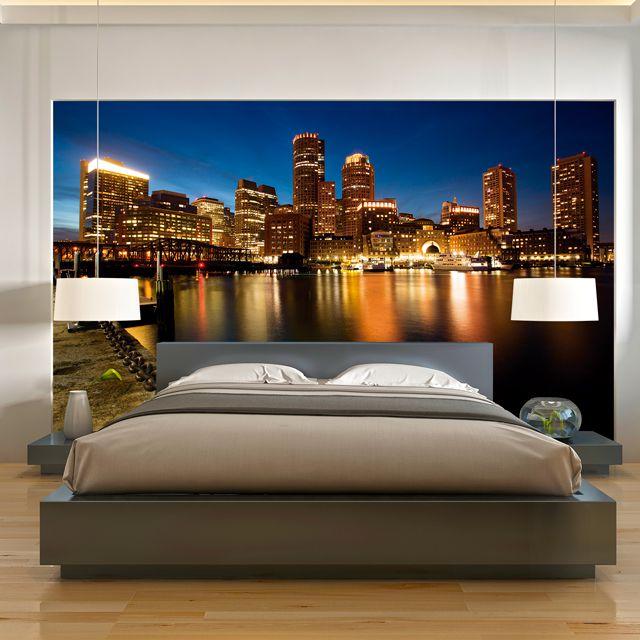 Adesivo de Parede 3D Boston Skyline Painel Fotográfico F034
